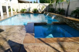 Blue fountain pools geometric pools for Garden spas pool germantown tn