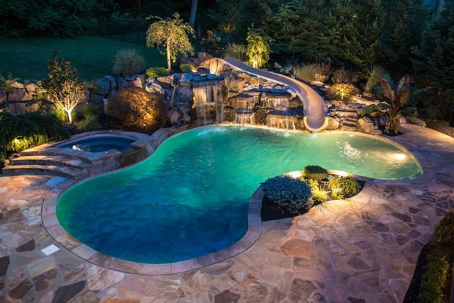 modren cool pools with waterfalls and slides o in inspiration