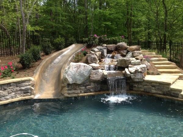 Blue Fountain Pools Rock Waterfall Slide Pools